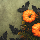 Happy Halloween swamp green background with pumpkins, bats with copy space - PhotoDune Item for Sale