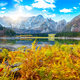 Fairytale  view of Fusine lake with Mangart peak on background - PhotoDune Item for Sale
