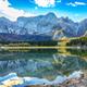 Astonishing view of Fusine lake with Mangart peak on background - PhotoDune Item for Sale
