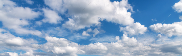 Beautiful blue sky with clouds at sunny bright day in summer - Stock Photo - Images