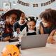 Kids using Laptop on Halloween - PhotoDune Item for Sale