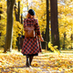 redhead girl walks through the park hold dry yellow fallen leaf at sunny day, back view. Autumn mood - PhotoDune Item for Sale