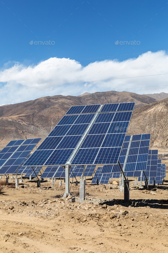 solar power plant on plateau - Stock Photo - Images