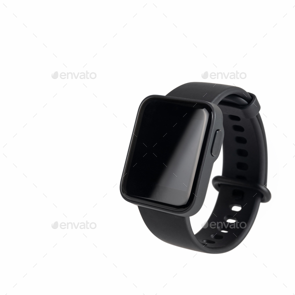 black smart sport watch isolated - Stock Photo - Images