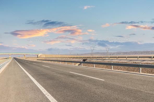 highway landscape at dusk - Stock Photo - Images