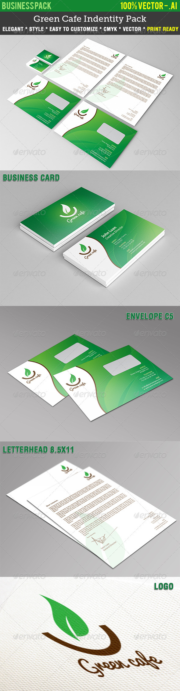 Green Cafe Indentity Pack - Stationery Print Templates