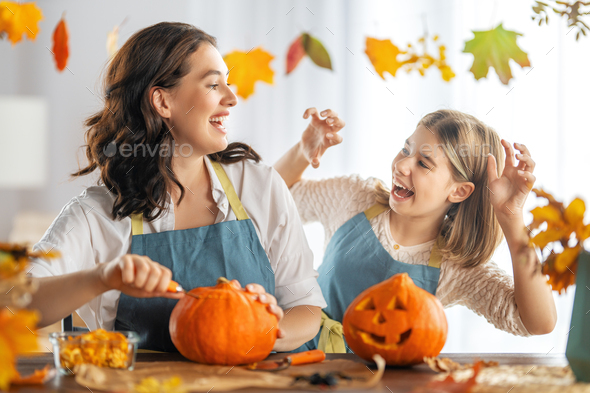 family preparing for Halloween - Stock Photo - Images