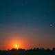 Moonrise Above Summer Forest park. Night Countryside Summer Starry Night Sky landscape - PhotoDune Item for Sale