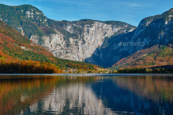 Hallstatter See lake mountain lake in Austria - Stock Photo - Images