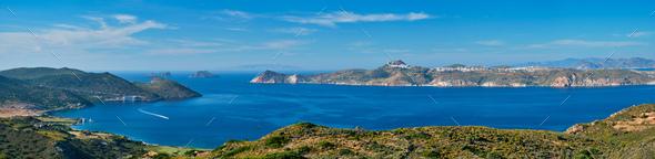 Aegean sea near Milos island with speeding speed boat catamaran ferry vessel in Greece - Stock Photo - Images