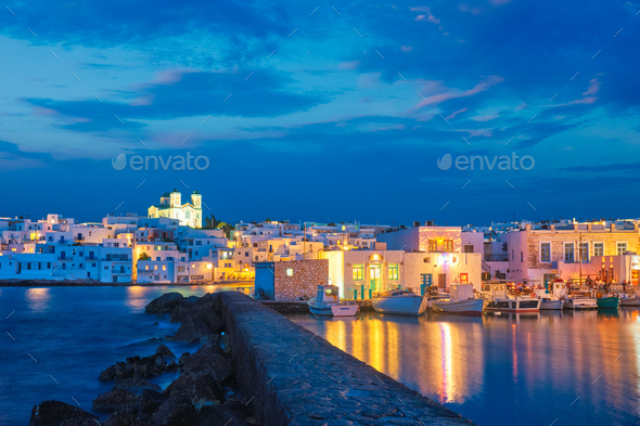 Picturesque Naousa town on Paros island, Greece in the night - Stock Photo - Images