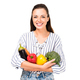 portrait of smiling woman with various fresh vegetables isolated on white - PhotoDune Item for Sale