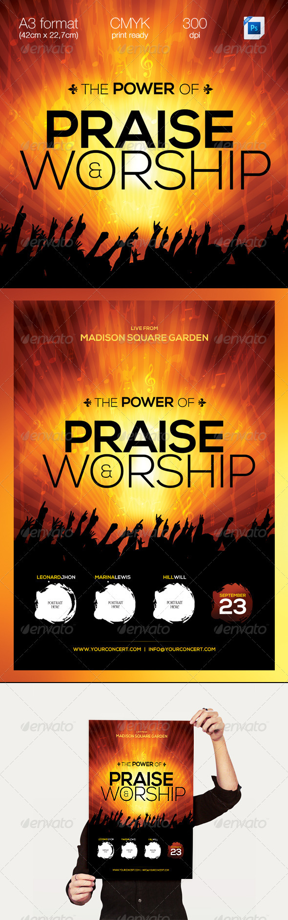 The Power of Praise & Worship A3 Template - Concerts Events