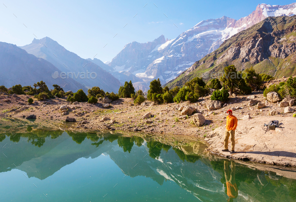 Fann mountains lake - Stock Photo - Images