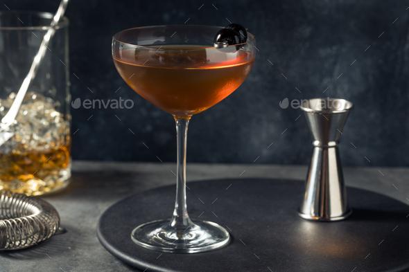 Boozy Refreshing Bourbon Manhattan Cocktail - Stock Photo - Images