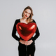 Beautiful young woman with heart shaped balloon, valentine day and love concept - PhotoDune Item for Sale