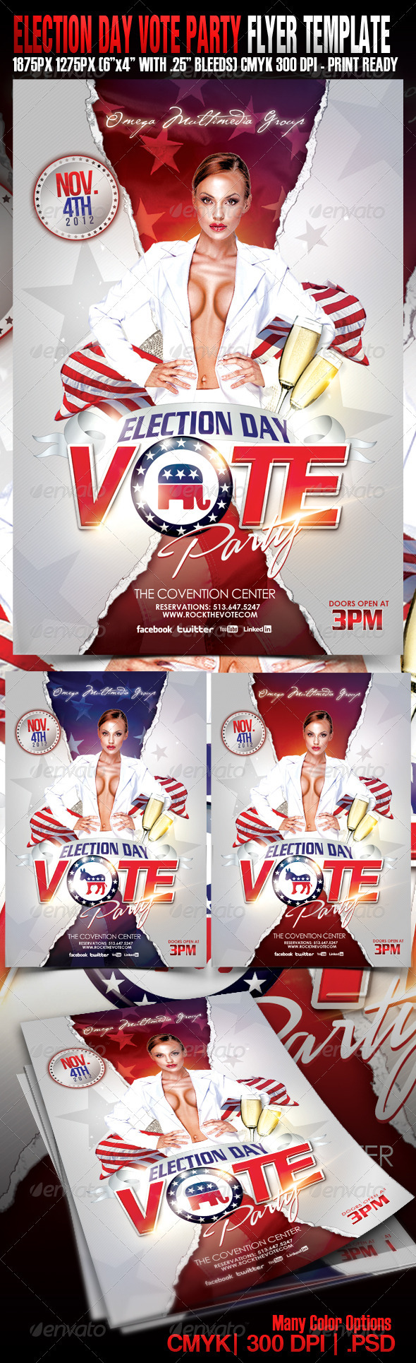 Election Day Vote Party - Events Flyers