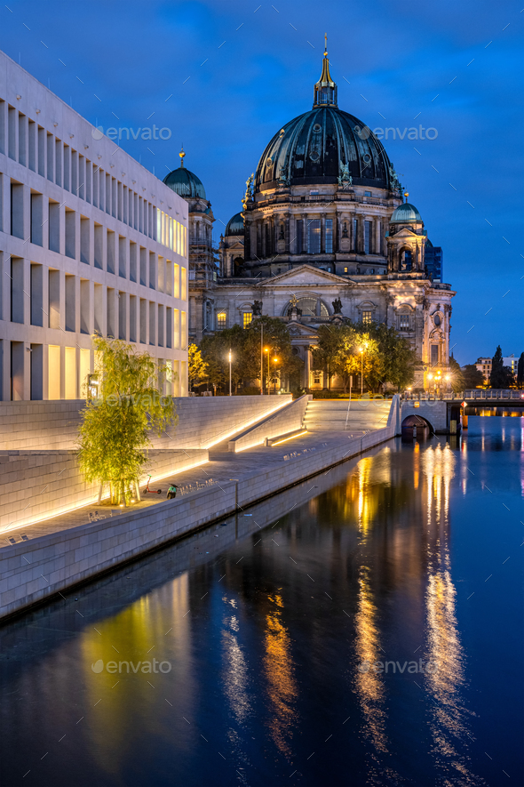 The Berlin Cathedral and the backside of the City Palace - Stock Photo - Images