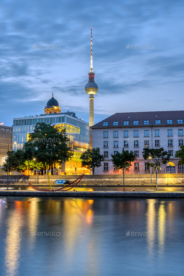 The river Spree in downtown Berlin with the famous TV Tower - Stock Photo - Images