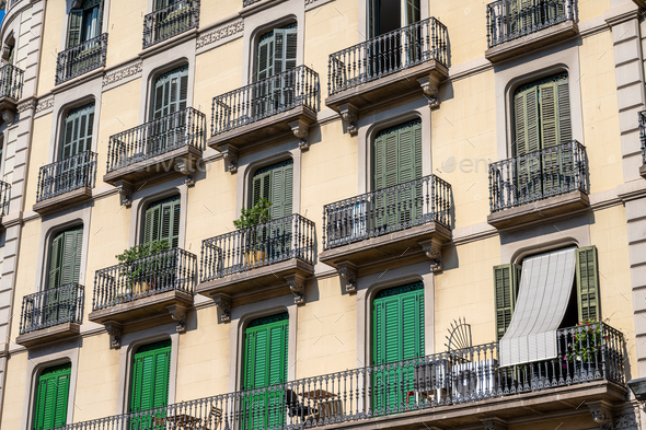 Typical house facades in Barcelona - Stock Photo - Images