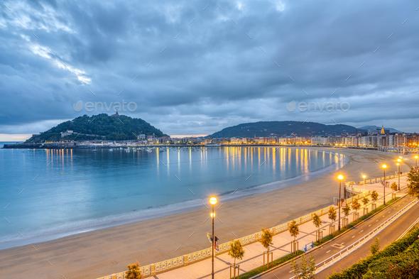 View of La Concha beach in San Sebastian - Stock Photo - Images