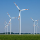 Modern wind turbines in front of a clear blue sky - PhotoDune Item for Sale
