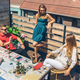 Group of friends talking and drinking on a terrace - PhotoDune Item for Sale