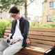 Asian Woman Using Laptop Outdoors - PhotoDune Item for Sale