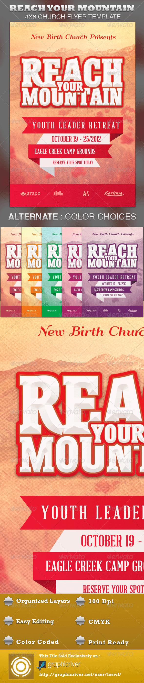 Reach Your Mountain Church Flyer Template - Church Flyers