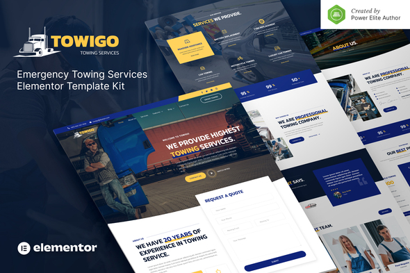 Towigo – Emergency Towing Services Elementor Template Kit