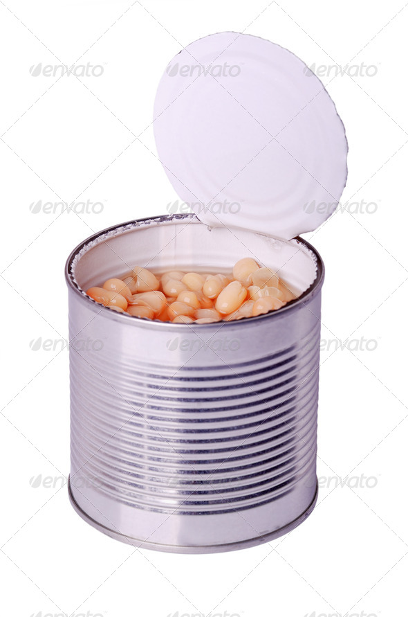 can with white beans - Stock Photo - Images