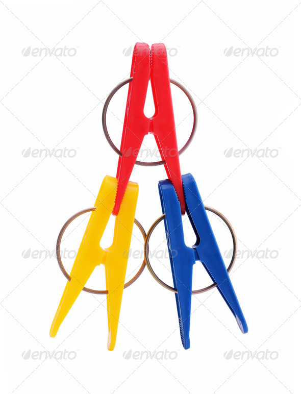 colorful clothespins - Stock Photo - Images