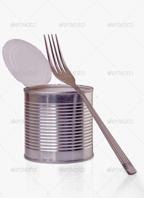 open a can with  fork - Stock Photo - Images