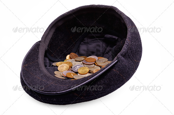 Coins in a cap - Stock Photo - Images