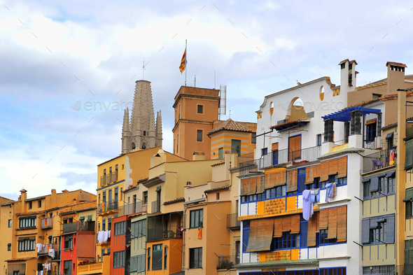 Colorful old houses in Girona, Catalonia, Spain - Stock Photo - Images