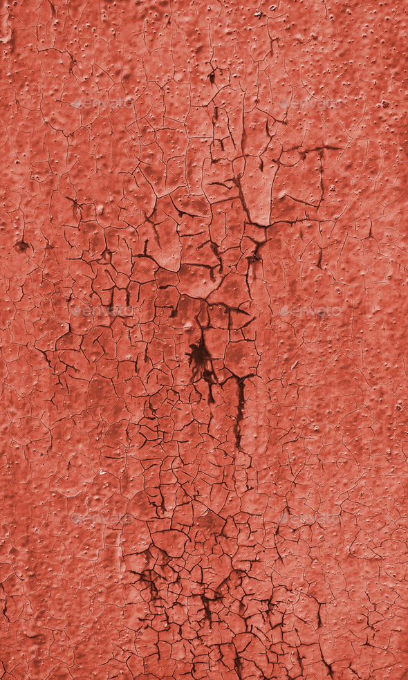 Texture of rough painted terracotta wall cracked from time - Stock Photo - Images