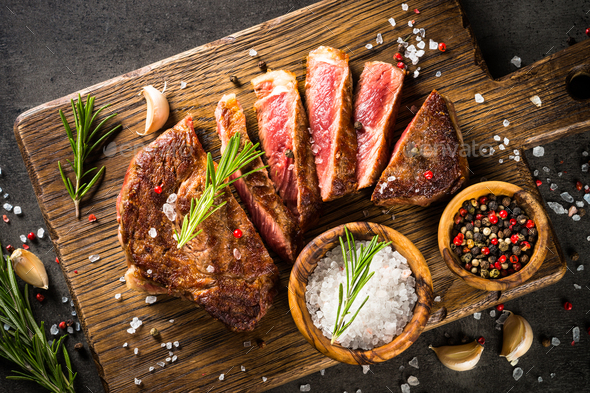 Grilled beef steak with herbs - Stock Photo - Images