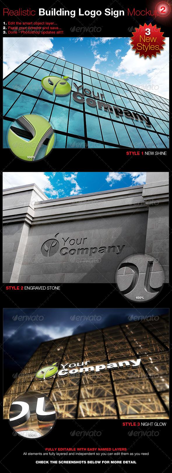 Realistic Building Logo Sign Mock-Up 2 - Logo Product Mock-Ups
