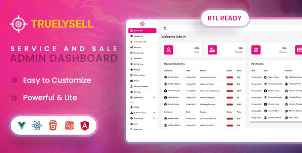 Super Truelysell - Services and Sales Admin Dashboard Template (HTML + Angular + Laravel + Vue + Reactjs)