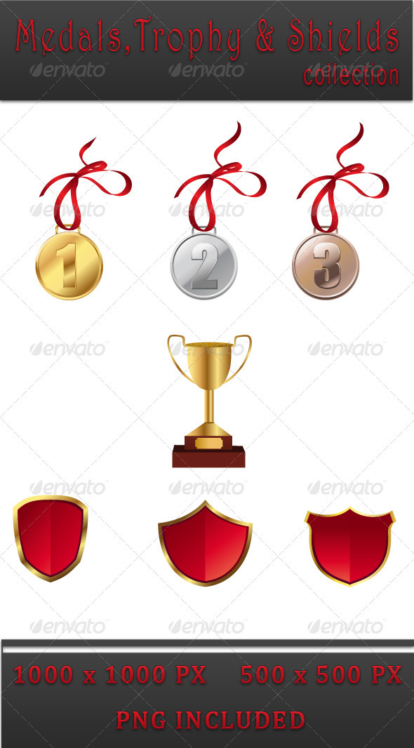 Medals & Trophies and Shields - Sports/Activity Conceptual
