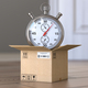 Express delivery concept. Stopwatch and cardboard box on the floor in front of open door. - PhotoDune Item for Sale