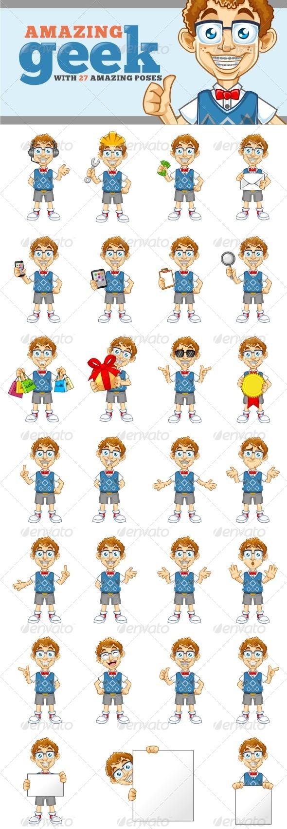 Geek Mascot - Characters Vectors