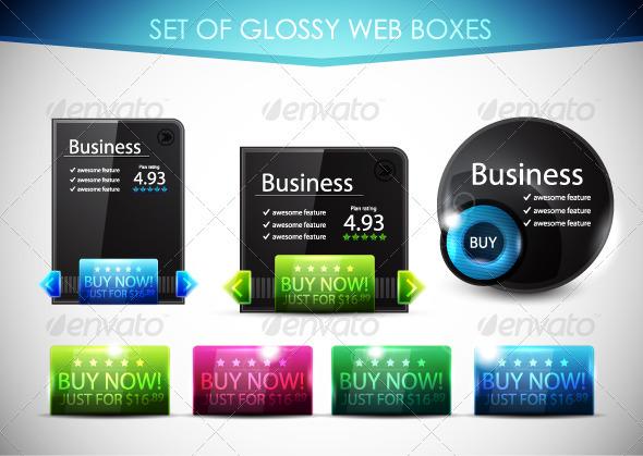 Glossy Black Web Boxes - Web Technology