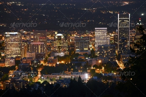 Portland at Night - Stock Photo - Images
