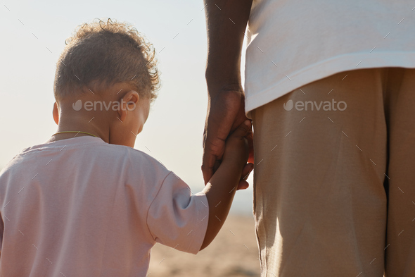 Father and Son Holding Hands Back View - Stock Photo - Images