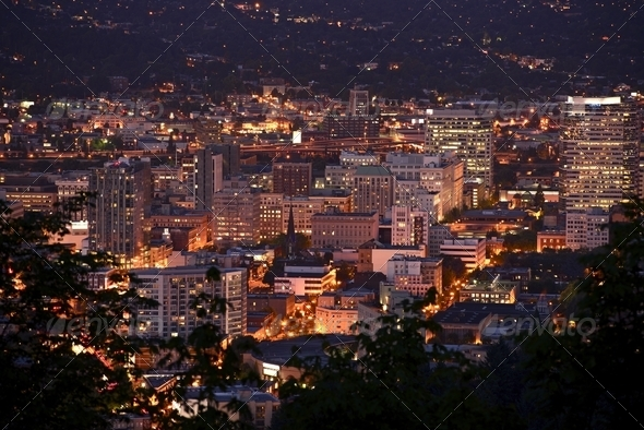 Portland Downtown at Night - Stock Photo - Images
