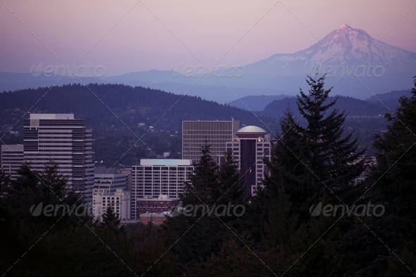 Mt Hood and Portland - Stock Photo - Images