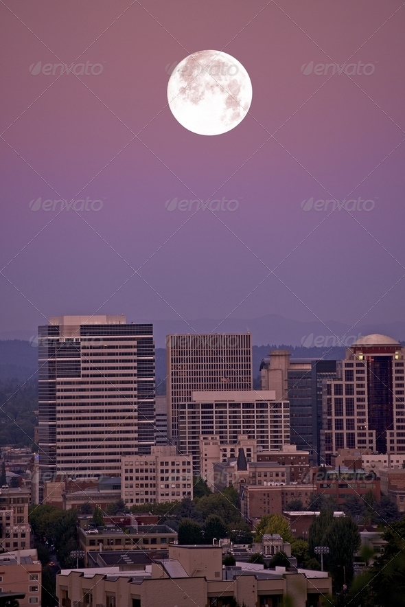 Moon Over Portland - Stock Photo - Images