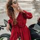 Sensual woman with black custom motorbike on beach - PhotoDune Item for Sale