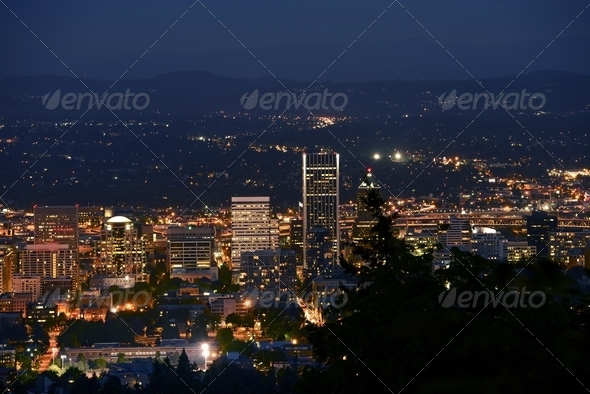 Portland Panorama at Night - Stock Photo - Images